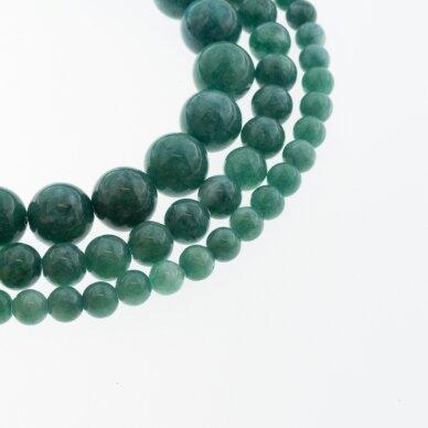 Kinų baltas žadeitas, natūralus, dažytas, apvali forma, #40 tamsios žalios jūros bangos spalva, 37-39 cm/gija, 6, 8, 10, 12 mm