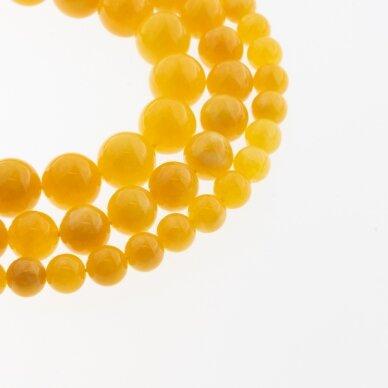 Kinų baltas žadeitas, natūralus, dažytas, apvali forma, geltona spalva, 37-39 cm/gija, 6, 8, 10, 12 mm