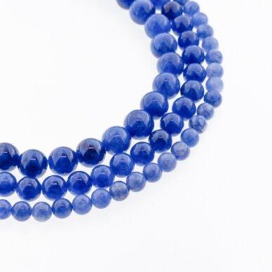 Kinų baltas žadeitas, natūralus, dažytas, apvali forma, mėlyna spalva, 37-39 cm/gija, 6, 8, 10, 12 mm