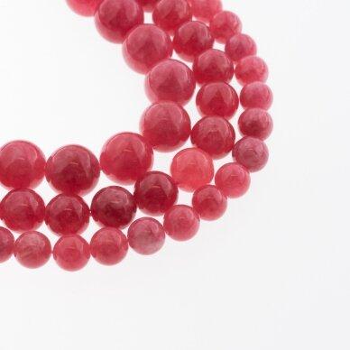 Kinų baltas žadeitas, natūralus, dažytas, apvali forma, raudona spalva, 37-39 cm/gija, 6, 8, 10, 12 mm