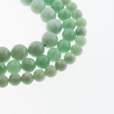 Kinų baltas žadeitas, natūralus, dažytas, apvali forma, šviesiai žalia spalva, 37-39 cm/gija, 6, 8, 10, 12 mm