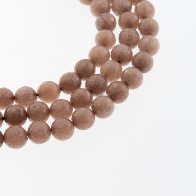 Kinų baltas žadeitas, natūralus, dažytas, briaunuotas, apvali forma, #11 pieniško šokolado spalva, 37-39 cm/gija, 6, 8, 10, 12 mm