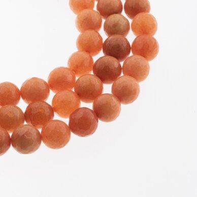 Kinų baltas žadeitas, natūralus, dažytas, briaunuotas, apvali forma, #20 oranžinė spalva, 37-39 cm/gija, 6, 8, 10, 12 mm