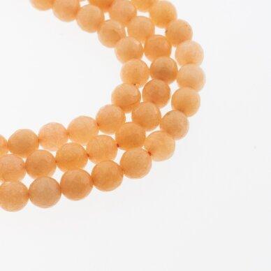Kinų baltas žadeitas, natūralus, dažytas, briaunuotas, apvali forma, #21 šviesiai oranžinė spalva, 37-39 cm/gija, 6, 8, 10, 12 mm
