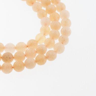 Kinų baltas žadeitas, natūralus, dažytas, briaunuotas, apvali forma, #23 šviesiai karamelinė spalva, 37-39 cm/gija, 6, 8, 10, 12 mm