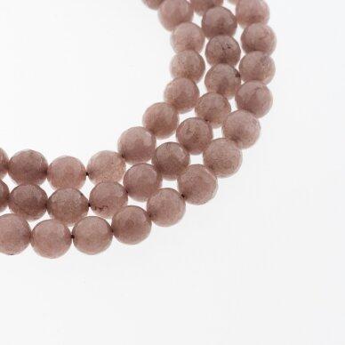 Kinų baltas žadeitas, natūralus, dažytas, briaunuotas, apvali forma, #28 pieniškos kakavos spalva, 37-39 cm/gija, 6, 8, 10, 12 mm