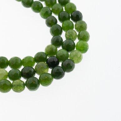 Kinų baltas žadeitas, natūralus, dažytas, briaunuotas, apvali forma, #32 žalia spalva, 37-39 cm/gija, 6, 8, 10, 12 mm