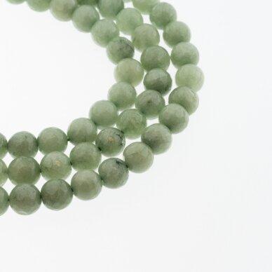 Kinų baltas žadeitas, natūralus, dažytas, briaunuotas, apvali forma, #37 žalia avantiurino spalva, 37-39 cm/gija, 6, 8, 10, 12 mm