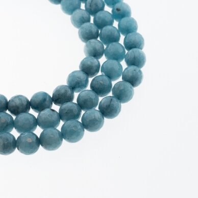 Chinese White Jade (Quartz), Natural, Dyed, Faceted Round Bead, #45 Dark Sky Blue, 37-39 cm/strand, 6, 8, 10, 12 mm