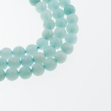 Kinų baltas žadeitas, natūralus, dažytas, briaunuotas, apvali forma, #47 šviesiai žydra spalva, 37-39 cm/gija, 6, 8, 10, 12 mm