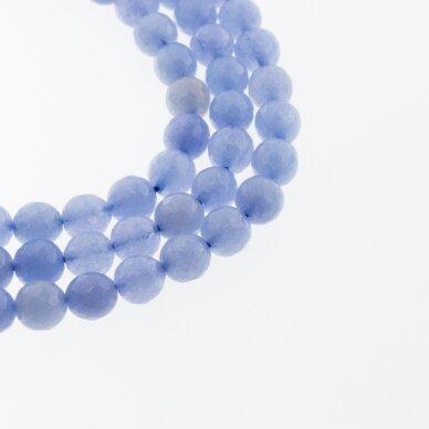 Kinų baltas žadeitas, natūralus, dažytas, briaunuotas, apvali forma, #48 rugiagėlių mėlyna spalva, 37-39 cm/gija, 6, 8, 10, 12 mm