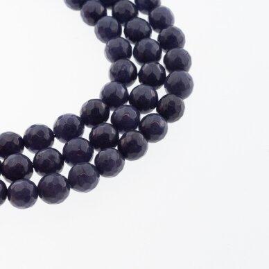 Kinų baltas žadeitas, natūralus, dažytas, briaunuotas, apvali forma, #50 tamsiai mėlyna spalva, 37-39 cm/gija, 6, 8, 10, 12 mm