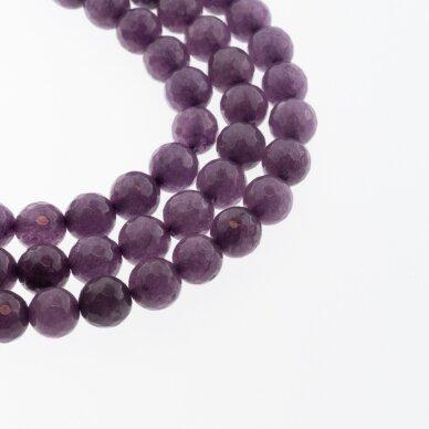 Kinų baltas žadeitas, natūralus, dažytas, briaunuotas, apvali forma, #52 violetinė spalva, 37-39 cm/gija, 6, 8, 10, 12 mm