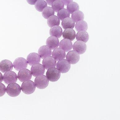 Kinų baltas žadeitas, natūralus, dažytas, briaunuotas, apvali forma, #53 šviesiai violetinė spalva, 37-39 cm/gija, 6, 8, 10, 12 mm