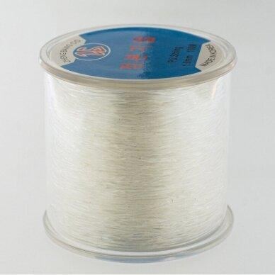 Korėjietiškas skaidrus guminis siūlas, skaidri spalva, apie 100 metrų/ritė, 0.8 mm