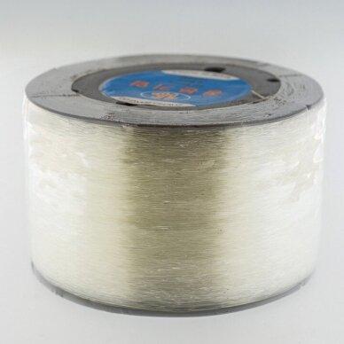 Korėjietiškas skaidrus guminis siūlas, skaidri spalva, apie 1000 metrų/ritė, 0.7 mm