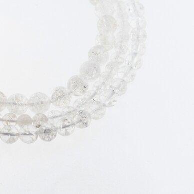 Kraklē kvarcas, natūralus, apvali forma, skaidri balta spalva, 37-39 cm/gija, 6, 8, 10, 12 mm