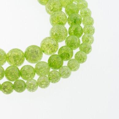 Kraklē kvarcas, regeneruotas sintetinis, dažytas, apvali forma, #H05 žalia spalva, 37-39 cm/gija, 6, 8, 10, 12 mm