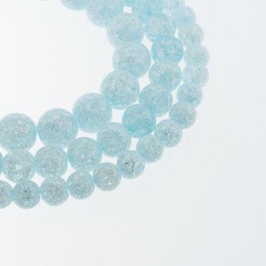 Kraklē kvarcas, regeneruotas sintetinis, dažytas, apvali forma, #H06 žydra spalva, 37-39 cm/gija, 6, 8, 10, 12 mm