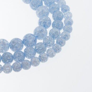Kraklē kvarcas, regeneruotas sintetinis, dažytas, apvali forma, #H07 šviesi mėlyna spalva, 37-39 cm/gija, 6, 8, 10, 12 mm