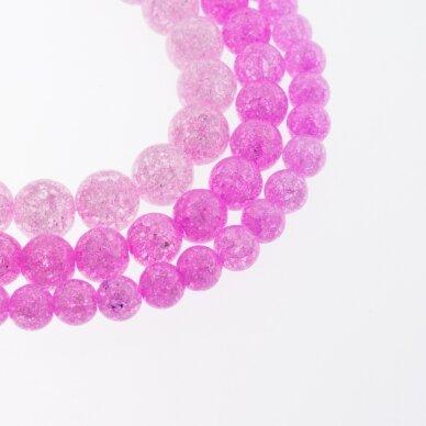 Kraklē kvarcas, regeneruotas sintetinis, dažytas, apvali forma, #H10 rožinė spalva, 37-39 cm/gija, 6, 8, 10, 12 mm