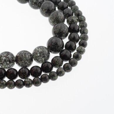 Kraklē kvarcas, regeneruotas sintetinis, dažytas, apvali forma, #H16 juoda spalva, 37-39 cm/gija, 6, 8, 10, 12 mm