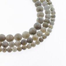 Labradoritas, natūralus, D kokybė, matinis, apvali forma, pilka spalva, 37-39 cm/gija, 4, 6, 8, 10, 12 mm