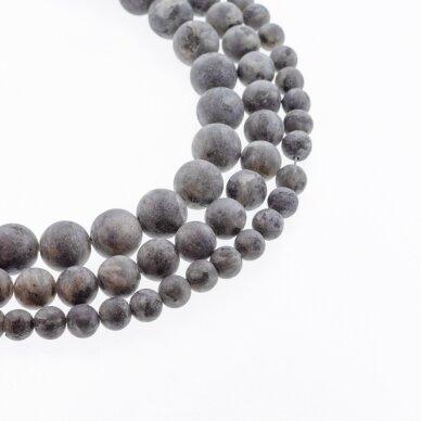 Larvikitas, natūralus, AB kokybė, briaunuotas, apvali forma, pilka spalva, 37-39 cm/gija, 4, 6, 8, 10, 12 mm