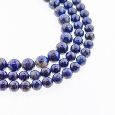 Lazuritas, natūralus, AB kokybė, apvali forma, mėlyna spalva, 37-39 cm/gija, 4, 6, 8, 10, 12 mm