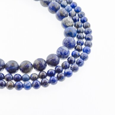 Lazuritas, natūralus, B kokybė, apvali forma, mėlyna spalva, 37-39 cm/gija, 4, 6, 10, 14 mm