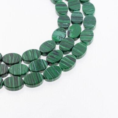 Malachitas, imitacija, pokščio ovalo forma, žalia spalva, 37-39 cm/gija, 10x15 mm