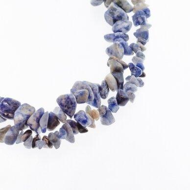 Mėlynas dėmėtas jaspis, natūralus, B kokybė, skaldos forma, 37-39 cm/gija, apie 5-8, 8-12 mm