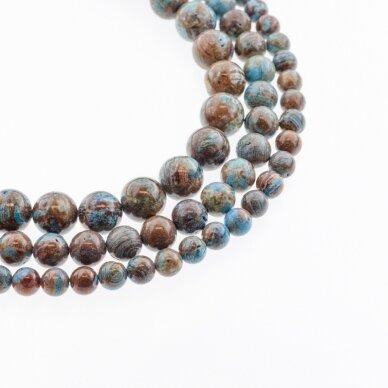 Mėlyno dangaus jaspis, natūralus, AB kokybė, apvali forma, 37-39 cm/gija, 4, 6, 8, 10, 12 mm
