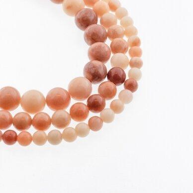 Nepermatomas rožinis avantiurinas, natūralus, A kokybė, apvali forma, 37-39 cm/gija, 4, 6, 8, 10, 12 mm