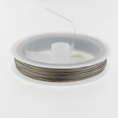 Nerūdijančio plieno troselis, apie 10 metrų/ritė, 0.35 mm