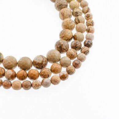 Paveikslinis jaspis, natūralus, AB kokybė, briaunuotas, apvali forma, ruda spalva, 37-39 cm/gija, 4, 6, 8, 10, 12 mm
