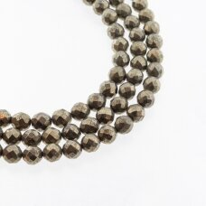 Piritas, natūralus, AB kokybė, briaunuotas, apvali forma, chaki aukso spalva, 37-39 cm/gija, 4, 6, 8, 10 mm