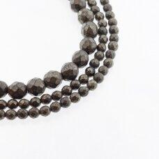 Piritas, natūralus, B kokybė, briaunuotas, apvali forma, chaki aukso spalva, 37-39 cm/gija, 2, 3, 4, 6, 8, 10, 12 mm