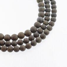 Piritas, natūralus, B kokybė, matinis, apvali forma, chaki aukso spalva, 37-39 cm/gija, 4, 6, 8, 10, 12 mm