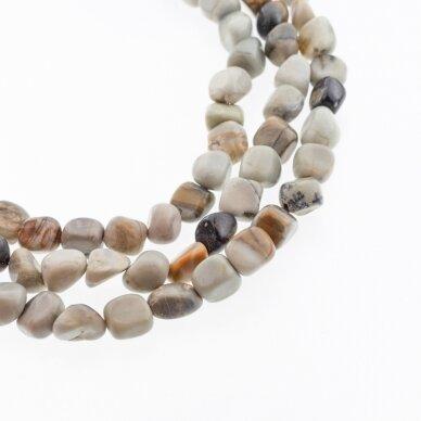 Pikaso jaspis (onikso marmuras), natūralus, AB kokybė, gabaliuko forma, pilka spalva/daugiaspalvis, 37-39 cm/gija, apie 6x8-8x10 mm