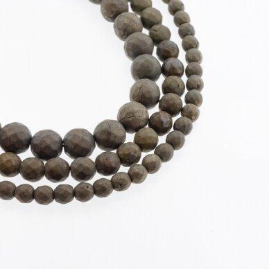 Piritas, natūralus, B kokybė, matinis, briaunuotas, apvali forma, chaki aukso spalva, 37-39 cm/gija, 6, 8, 10, 12 mm