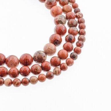 Raudonas jaspis, natūralus, B kokybė, apvali forma, 37-39 cm/gija, 4, 6, 8, 10, 12 mm
