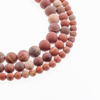 Raudonas jaspis, natūralus, B kokybė, matinis, apvali forma, 37-39 cm/gija, 4, 6, 8, 10, 12 mm