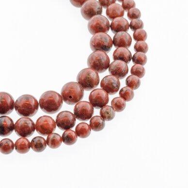 Raudonas sezamo jaspis, natūralus, B kokybė, apvali forma, 37-39 cm/gija, 4, 6, 8, 10, 12 mm