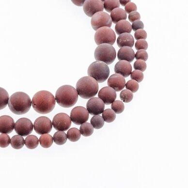 Raudonas vaivorykštės jaspis, natūralus, AB kokybė, matinis, apvali forma, 37-39 cm/gija, 4, 6, 8, 10, 12 mm