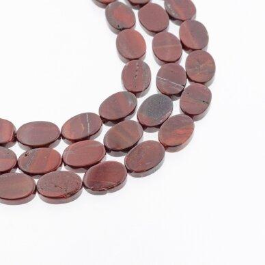 Raudonas vaivorykštės jaspis, natūralus, AB kokybė, plokščio ovalo forma, 37-39 cm/gija, 10x15 mm