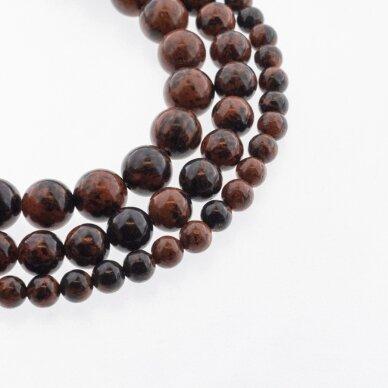 Raudonmedžio obsidianas, natūralus, AB kokybė, apvali forma, raudonai juoda spalva, 37-39 cm/gija, 4, 6, 8, 10, 12 mm