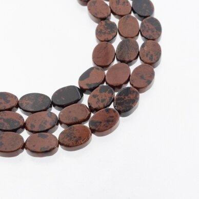 Raudonmedžio obsidianas, natūralus, AB kokybė, plokščio ovalo forma, raudonai juoda spalva, 37-39 cm/gija, 10x14 mm