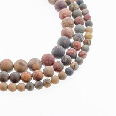 Raudonojo upelio jaspis, natūralus, AB kokybė, matinis, apvali forma, daugiaspalvis, 37-39 cm/gija, 4, 6, 8, 10, 12 mm