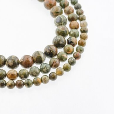 Riolitas, natūralus, AB kokybė, apvali forma, žalia spalva, 37-39 cm/gija, 4, 6, 8, 10, 12 mm